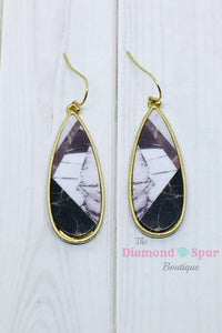 Marble Tear Drop Earrings - The Diamond Spur Boutique