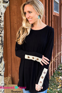 Button Detail Long Sleeve Top - The Diamond Spur Boutique