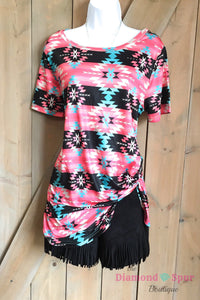 Pink Aztec Knot Shirt - The Diamond Spur Boutique