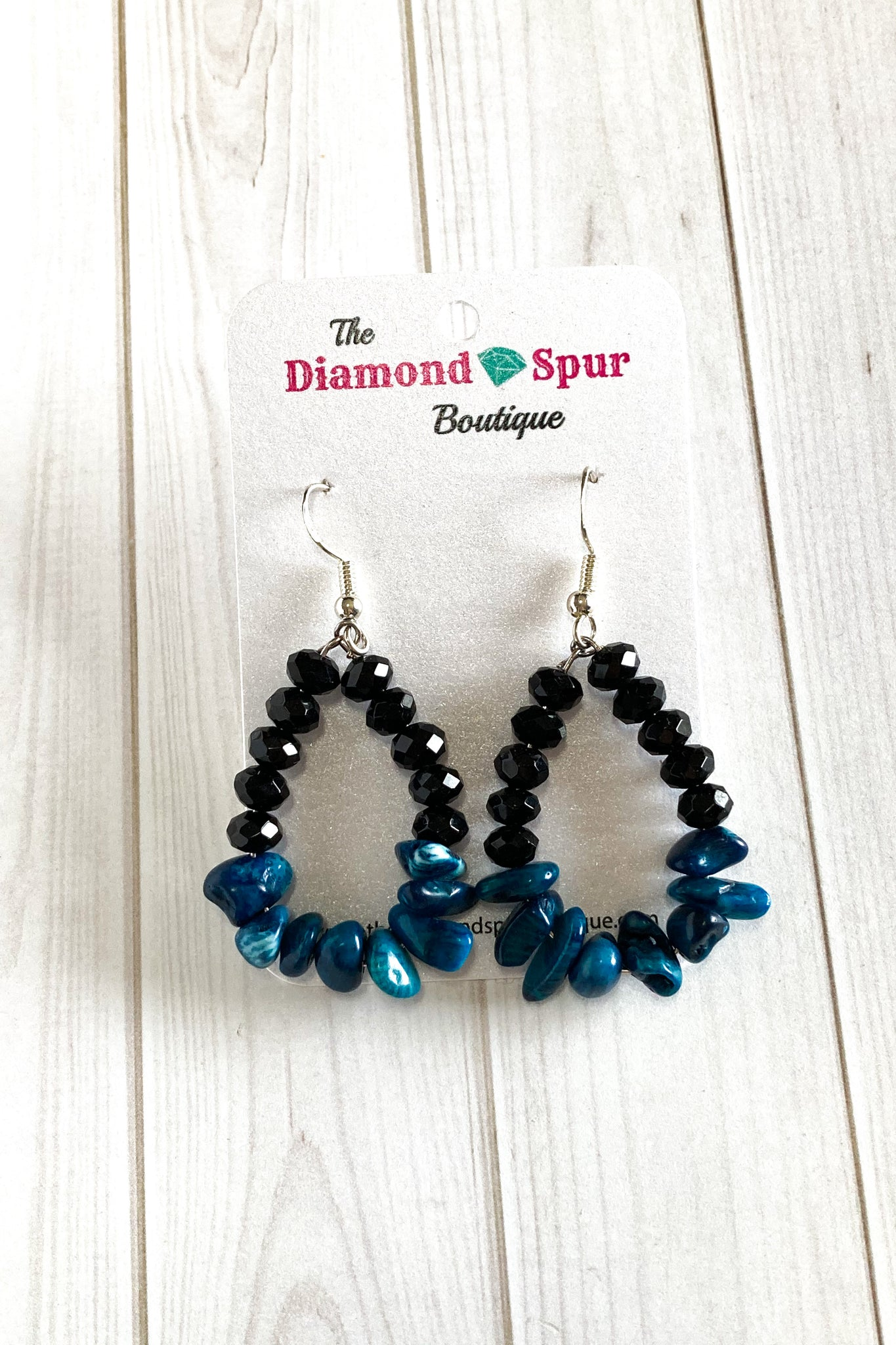Black And Blue Drop Hoops - The Diamond Spur Boutique
