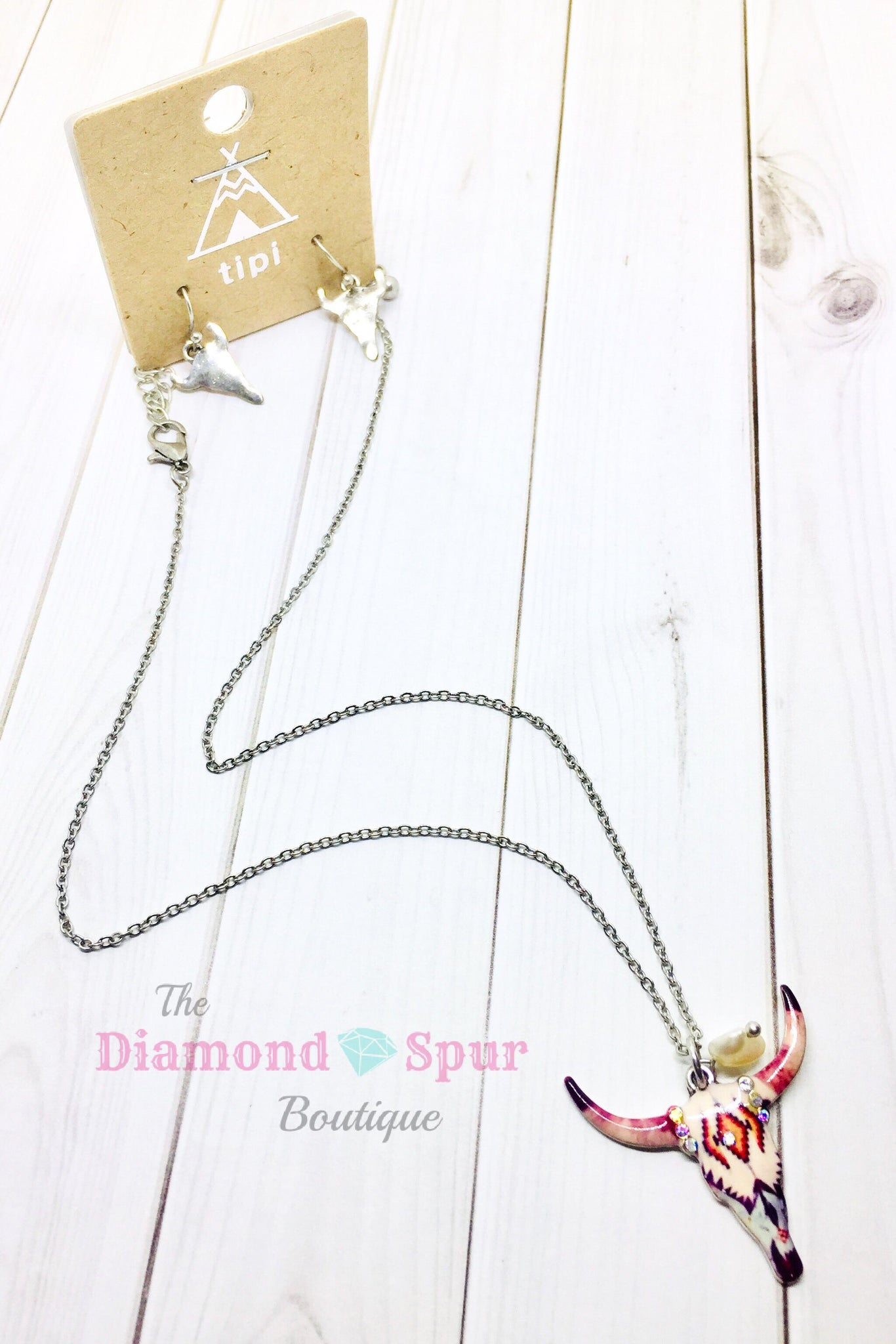 Longhorn Skull Necklace/Earring Set - The Diamond Spur Boutique