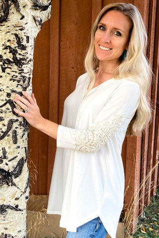 Ivory Crocheted Detail Sleeve Top - The Diamond Spur Boutique