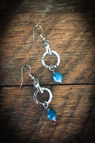 Silver Circle and Turquoise Earrings