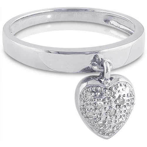 Puffed Heart Charm Ring with Diamonds