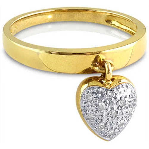 Puffed Heart Charm Ring with Diamond