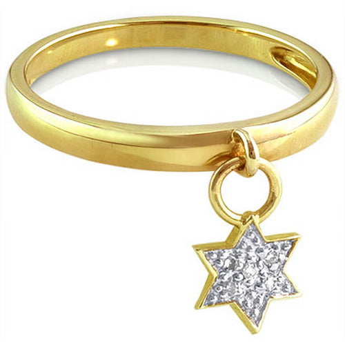 Star of David Charm Ring with Diamonds