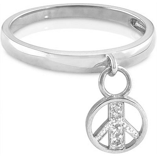 Peace Sign Charm Ring with Diamonds