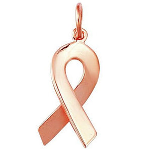 Cancer Ribbon Charm W/ Pink Gold P