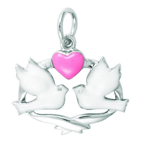 Enamel Love Doves w/ Heart