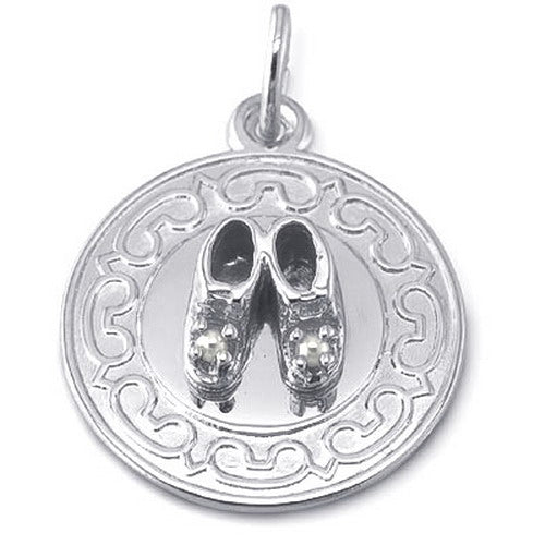 Baby Shoe on Disc (Rhodium)