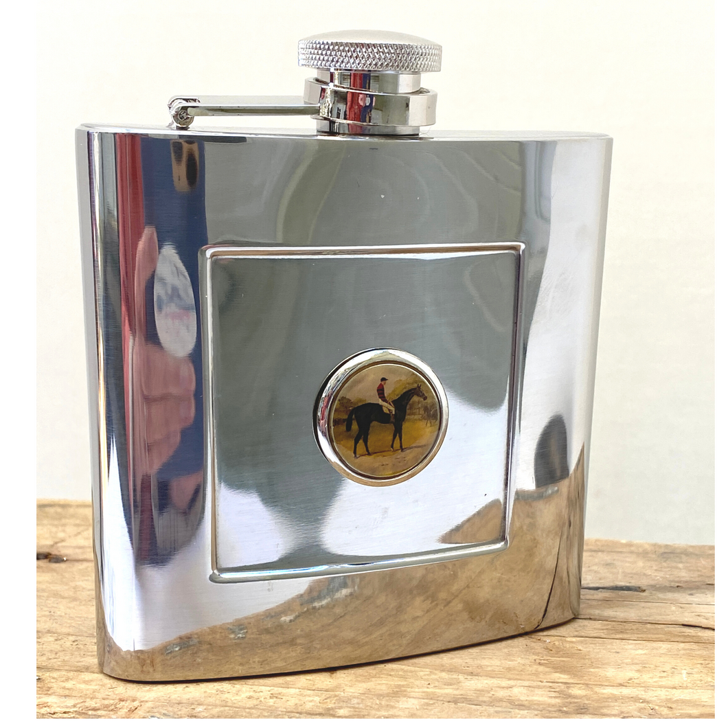Flask Stainless Steel Art Vintage Racehorse Iroquois