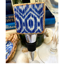 Load image into Gallery viewer, Bottle Stopper,  Marble Bottle Stopper,  Blue White Ikat Design