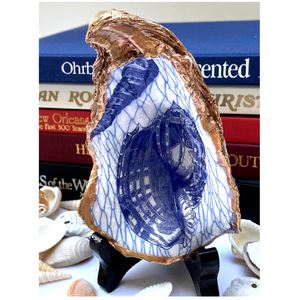 Signature Oyster Shell Ring Dish Chinoiserie Blue Shell, Hostess Gift