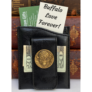 Money Clip, Black Faux Leather, Antique Gold Buffalo Head, Gift for Him
