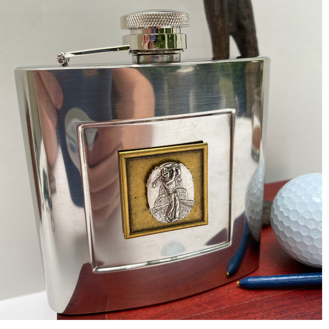 Silver Flask, Golf Theme, Vintage Medallion