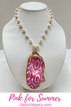 Load image into Gallery viewer, Oyster Shell Necklace, Pink ikat pattern, gold leaf, pearl chain