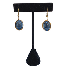 Load image into Gallery viewer, Earrings,  Faux Blue Lapis,  Antique Gold Setting, Handmade in USA