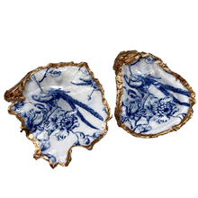 Load image into Gallery viewer, Oyster Shell Dish,  Blue White Chinoiserie Bird Design