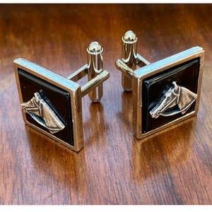 Cuff Links Silver Horse Head Black Onyx