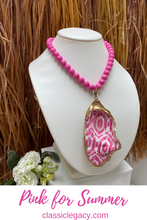 Load image into Gallery viewer, Oyster Shell Necklace, Pink ikat pattern, gold leaf, pink Bead Chain