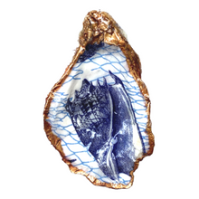 Signature Oyster Shell Ring Dish Chinoiserie Blue and White, Hostess Gift