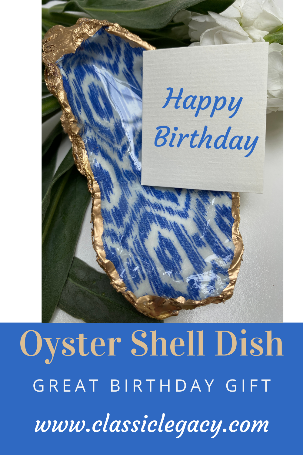 Special One Time Offer Oyster Shell Dish Blue & White Ikat