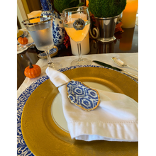 Napkin Ring Oyster Shell Blue and White Ikat Design