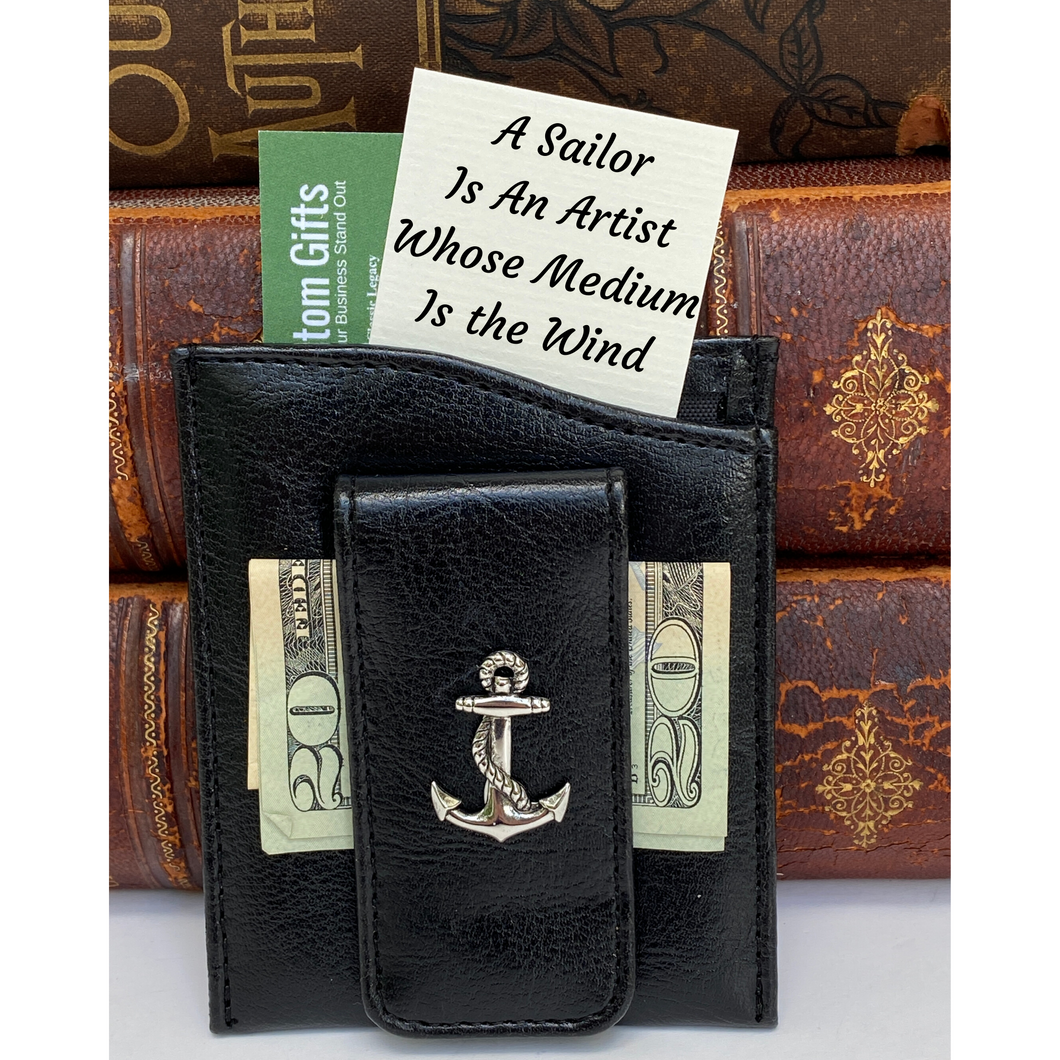 Money Clip, Anchor, Black Faux Leather, Gift for Him