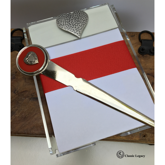 Heart Notepad and Letter Opener