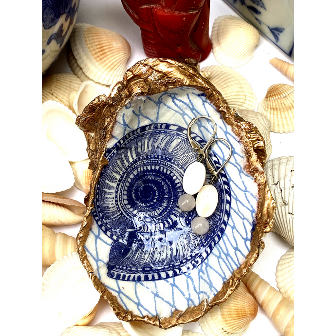 Signature Oyster Shell Ring Dish, Chinoiserie, Blue and White Hostess Gift