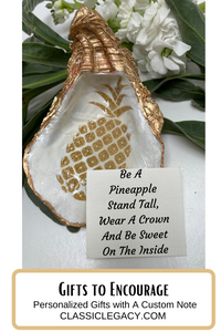 Oyster Shell Jewelry Dish, Pineapple