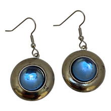 Load image into Gallery viewer, Earring, Silver Plate, Mid-Century Modern, Light Blue Cabochon, Handmade in USA