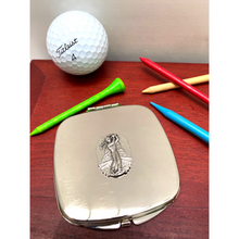 Load image into Gallery viewer, Purse Mirror, Silver, Two Mirrors, Golf Theme