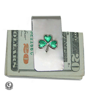 Irish Shamrock Silver Money Clip