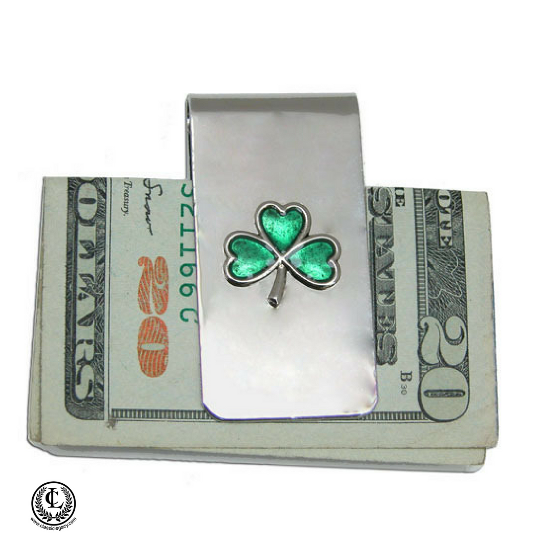 Silver Money Clip, Irish Shamrock