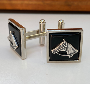 Cuff Links, Silver Horse Head, Black Onyx, Made in USA