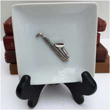 Load image into Gallery viewer, Trinket Tray, White Porcelain,  Silver Saxophone Medallion