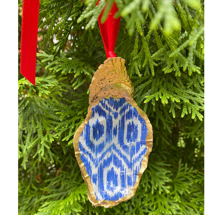 Oyster Shell Blue Ikat Christmas Ornament, Wine Bottle Decoration