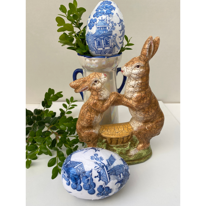 Easter Egg Blue and White Chinoiserie Design