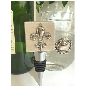 Bottle Stopper Marble with Silver Fleur De Lis Medallion