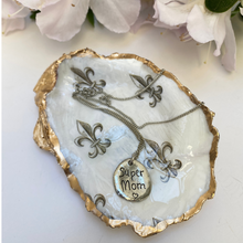 Mother's Day Gift, Fleur de Lis Oyster Shell Jewelry Dish, Necklace
