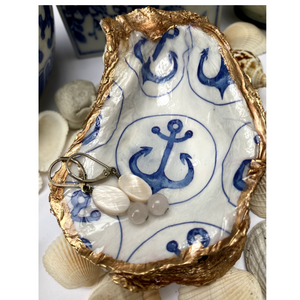 Signature Oyster Shell Jewelry Dish Blue White Anchor Design