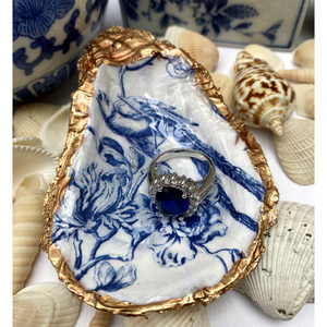 Signature Oyster Shell Jewelry Dish Blue White Chinoiserie Bird