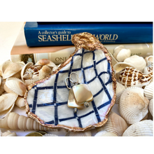 Load image into Gallery viewer, Oyster Shell Dish,  Blue Trellis Design