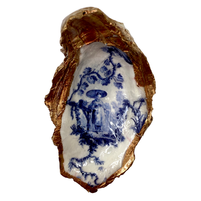 Signature Oyster Shell Jewelry Dish Chinese Lady Chinoiserie Design