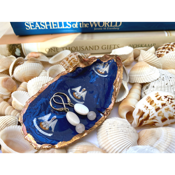 Signature Oyster Shell Jewelry Dish State of Louisiana Flag Pelican Blue White