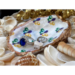 Signature Oyster Shell Jewelry Ring Dish Mardi Gras Fleur de Lis Design