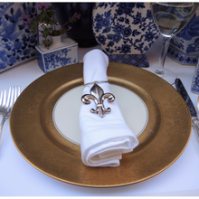 Load image into Gallery viewer, Napkin Ring, Silver Fleur de Lis , Elegant Tabletop Accessory for a Francophile