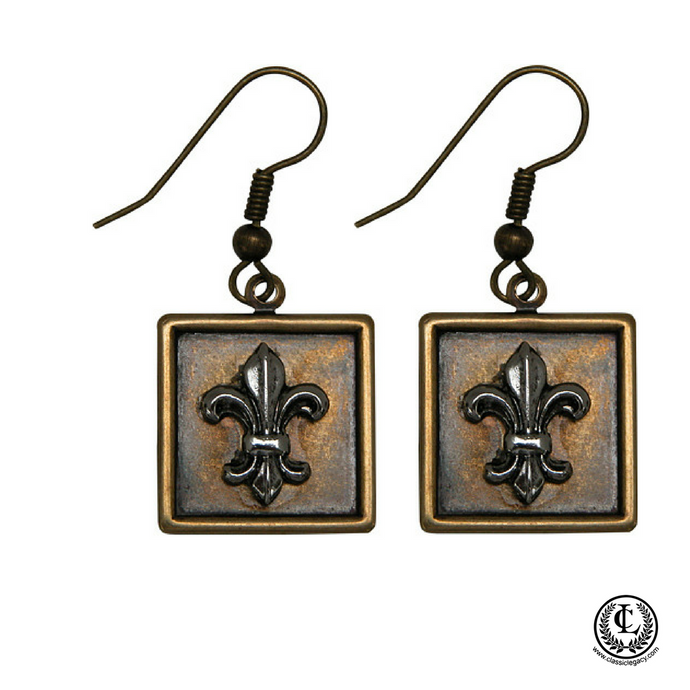 Earring Square Antique Brass Silver Fleur de Lis