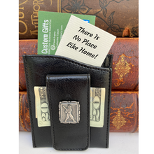 Load image into Gallery viewer, Money Clip, Baseball Player, Black Faux Leather
